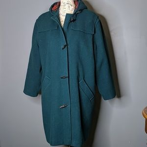 Vintage LL Bean Wool Trench Forest Green 14